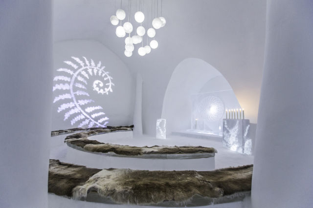 "ART & DESIGN book 2015, ICEHOTEL, iCelebrate25, The Ice Church ""In the glade"" design by David Andrén, Johan Andrén, Tjåsa Gusfors."